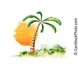 albero, illustrazione, vettore, palma, watercolour, sole
