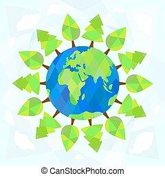 albero, intorno, terra, su, blu, fondo., ecologia, concept.