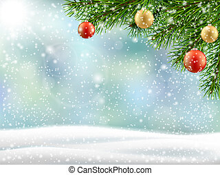 albero inverno, natale, paesaggio, ramo