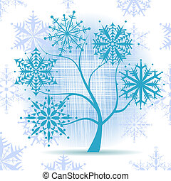 albero inverno, snowflakes., natale, holiday.