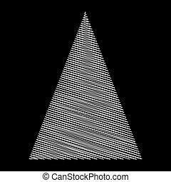 albero, isolato, disegno, fondo, nero, scarabocchio, natale