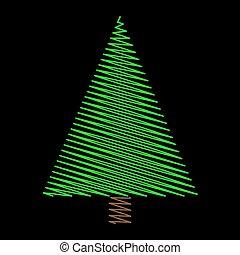 albero, isolato, sfondo verde, disegno, scarabocchio, natale, nero
