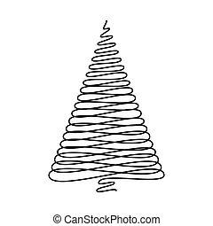 albero, isolato, vettore, fondo, bianco, scarabocchio, natale