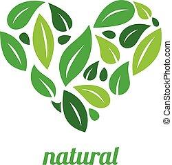 albero, logotipo, forma cuore, disegno, vettore, template.