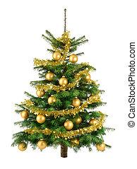 albero, lussureggiante, baubles, oro, natale