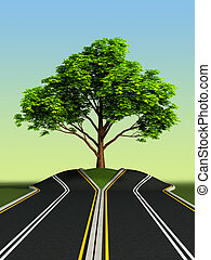 albero, medio, di, strada