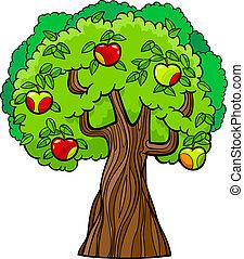 albero, mela, illustrazione, cartone animato