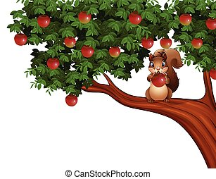 albero, mela, scoiattolo, cartone animato