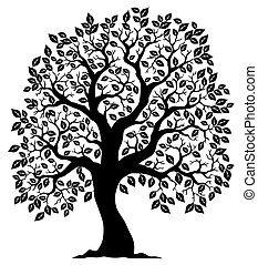 albero, modellato, silhouette, 3