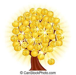 albero, monete, soleggiato, illustrazione, vettore, fondo, soldi