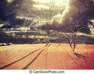 albero, morto, piste, veicolo, disertare paesaggio