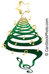albero, musicale, natale