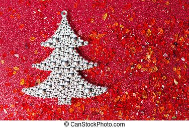 albero natale argento, su, sfondo rosso