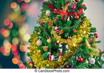 albero natale, con, colorito, ornamenti