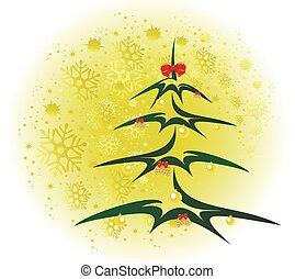 albero natale, con, dorato, palle, e, coni, fondo, con, snowflakes., eps10, vettore, illustrazione