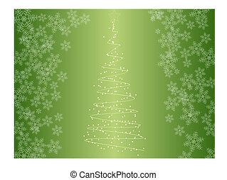 albero natale, con, fiocchi neve