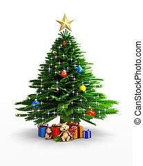 albero natale, con, regali
