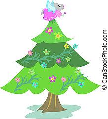 albero natale, con, topo, angelo