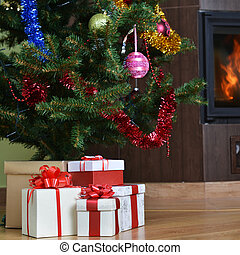 albero natale, e, regalo