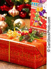 albero natale, e, regalo natale, scatole