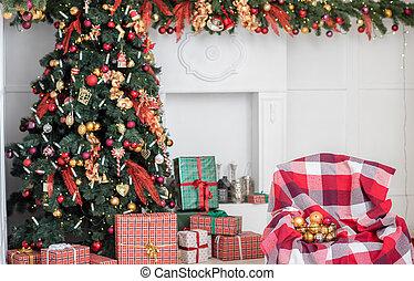 albero natale, e, regalo natale, scatole, in, il, interno, con, uno, fireplace.