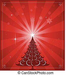 albero, natale, fondo, rosso