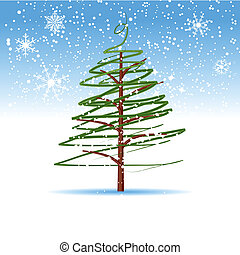 albero, natale, inverno