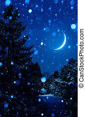 albero natale, notte, fuori, con, luna