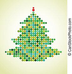albero natale, pixel, fondo, natale