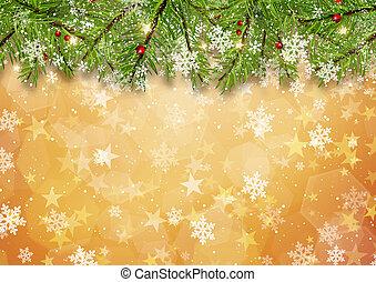 albero natale, rami, su, stella oro, fondo