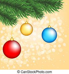 albero, natale, ramo, baubles