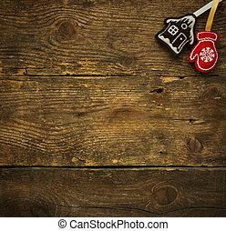 albero natale, sfondi, con, decorazioni natale, su, struttura legno, pronto, per, tuo, disegno