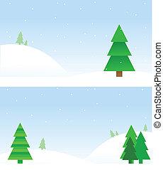 albero natale, sfondi, su, neve