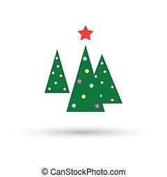 albero natale, tre, con, uno, stella, vettore, illustrazione