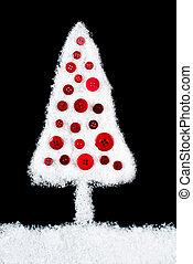 albero, neve, sfondo nero, coperto, natale