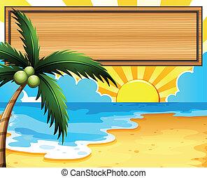 albero, noce di cocco, spiaggia, cartello, vuoto