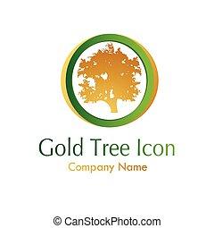 albero, oro, icona
