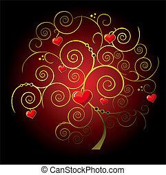 albero, oro, valentina