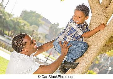 albero, padre, figlio, porzione, corsa, mescolato, ...