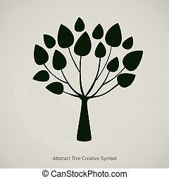 albero, pianta, vettore, illustration., natura, disegno astratto, simbolo
