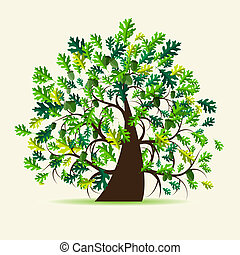 albero, quercia, estate