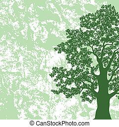 albero quercia, silhouette, su, astratto, fondo