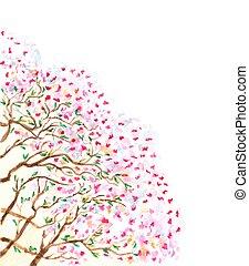 albero., rami, astratto, fioritura, illustrazione, acquarello, vettore