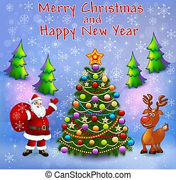 albero, renna, regali, natale, cartolina auguri, santa, illustrazione