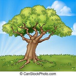 albero, scena, campo, fondo, cartone animato, paesaggio