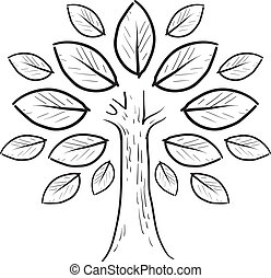 albero, schizzo, astratto