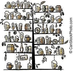 albero, schizzo, disegno, birra, tuo
