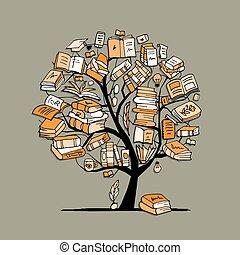 albero, schizzo, libri, disegno, tuo