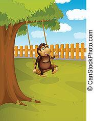 albero, scimmia, oscillazione