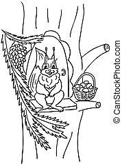 albero, scoiattolo